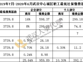 2019年7月至2020年6月武汉市社保缴费基数公布 最低缴费标准为1351.09元